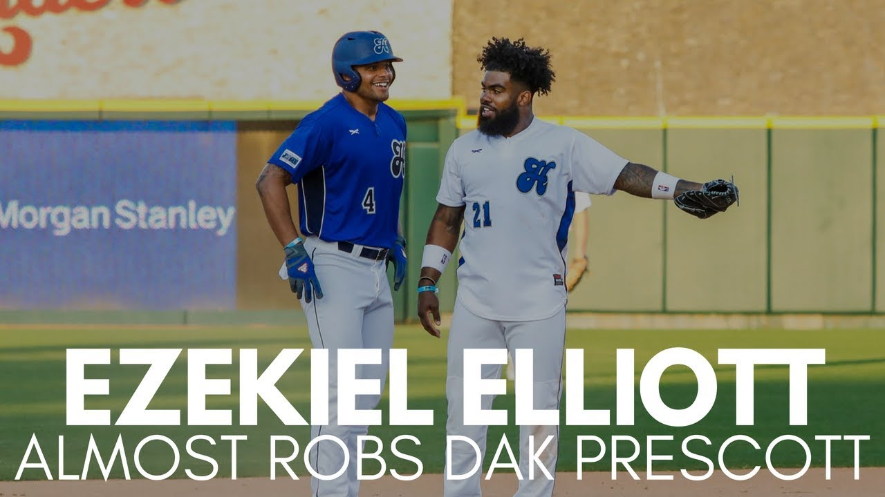 Ezekiel Elliott Almost Robs Dak Prescott of Base Hit