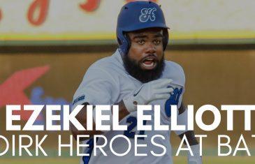 Ezekiel Elliott hits Hard Hit Single at Dirk Heroes