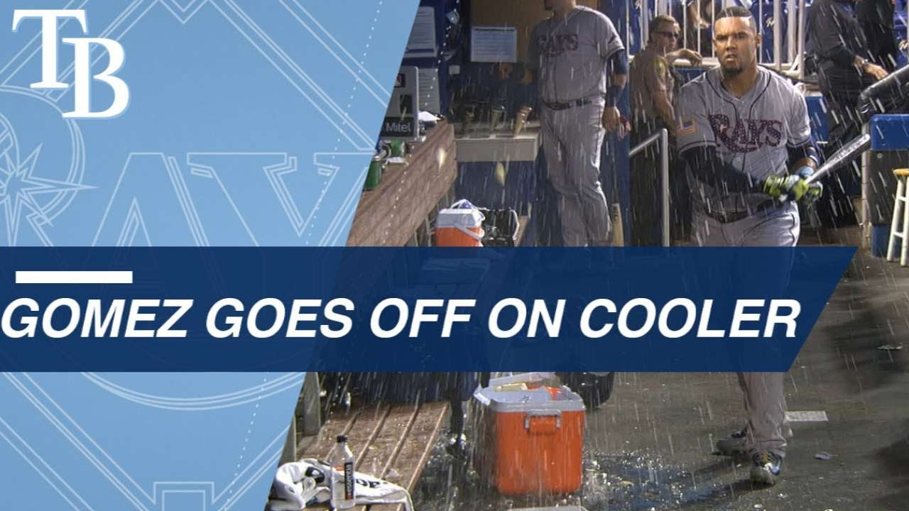Carlos Gomez Destroys Water Cooler After Strickout