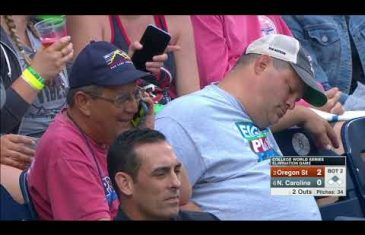 Fan Asleep at College World Series