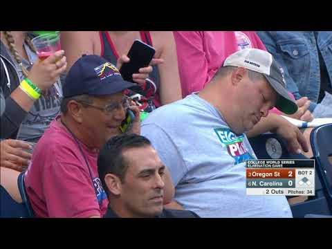Fan Asleep at College World Series