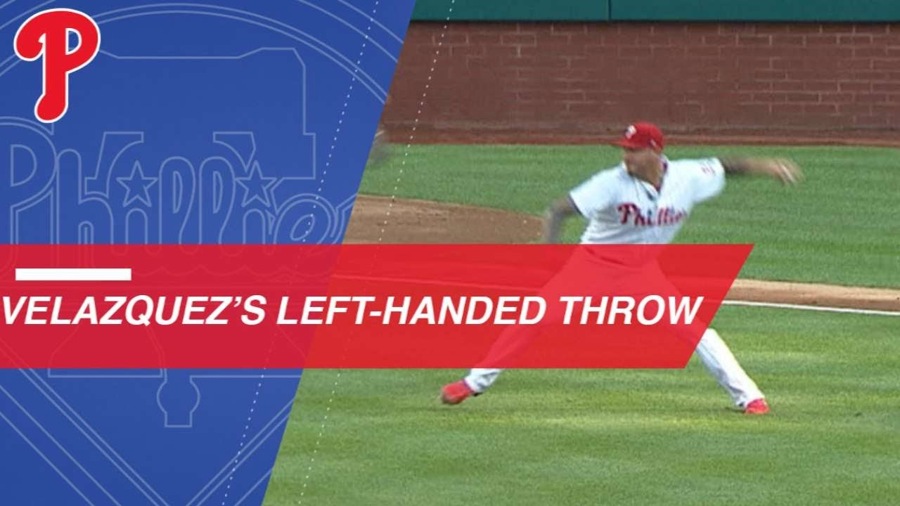 Vince Velasquez Clobbered by comebacker Gets Out with None Pitching Arm