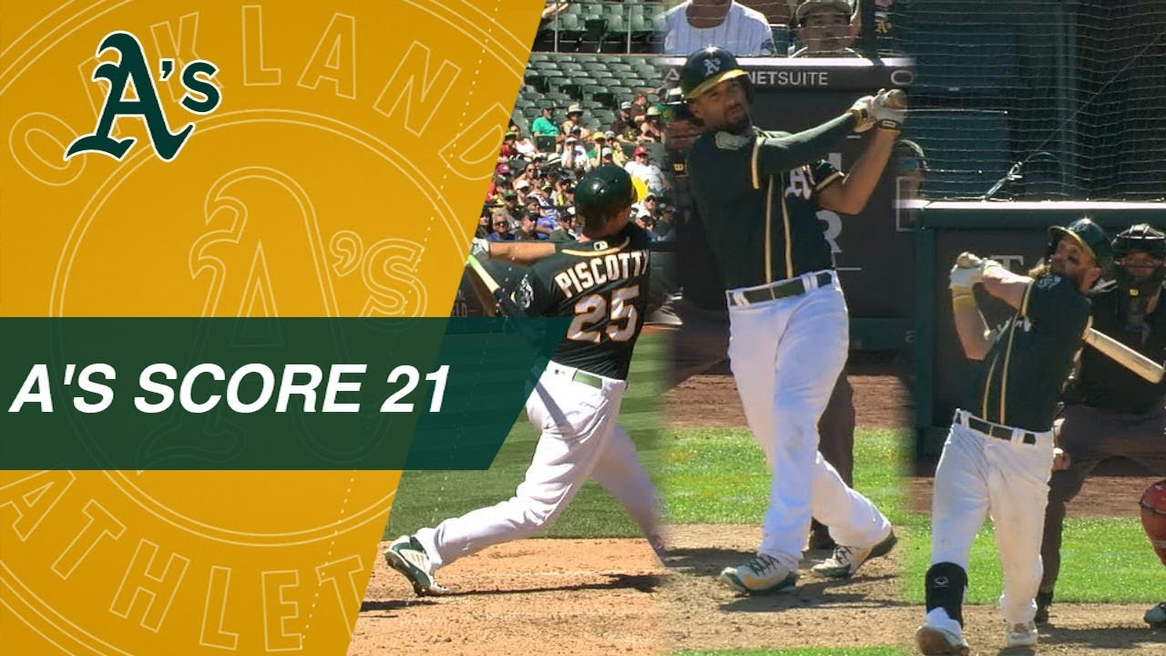 Oakland A's beat down LA Angles 21-3 at Coliseum