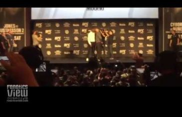 Jon Jones shoves Alexander Gustafsson at UFC 232 face off