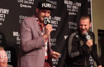 "Tyson Fury sings ""American Pie"" at Post-Fight Presser"