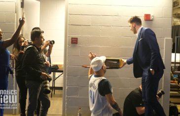 Luka Doncic arrival for Dirk Nowitzki's Final Mavs Game & Picks Up Custom Dirk Shoes