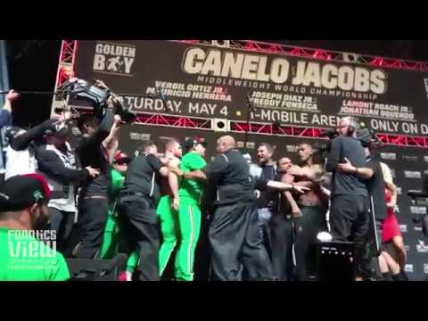 Daniel Jacobs and Canelo Alvarez get heated up during weigh-in