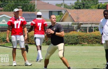 Drew Brees vs. Philip Rivers QB Challenge at Saints & Chargers Joint Practice