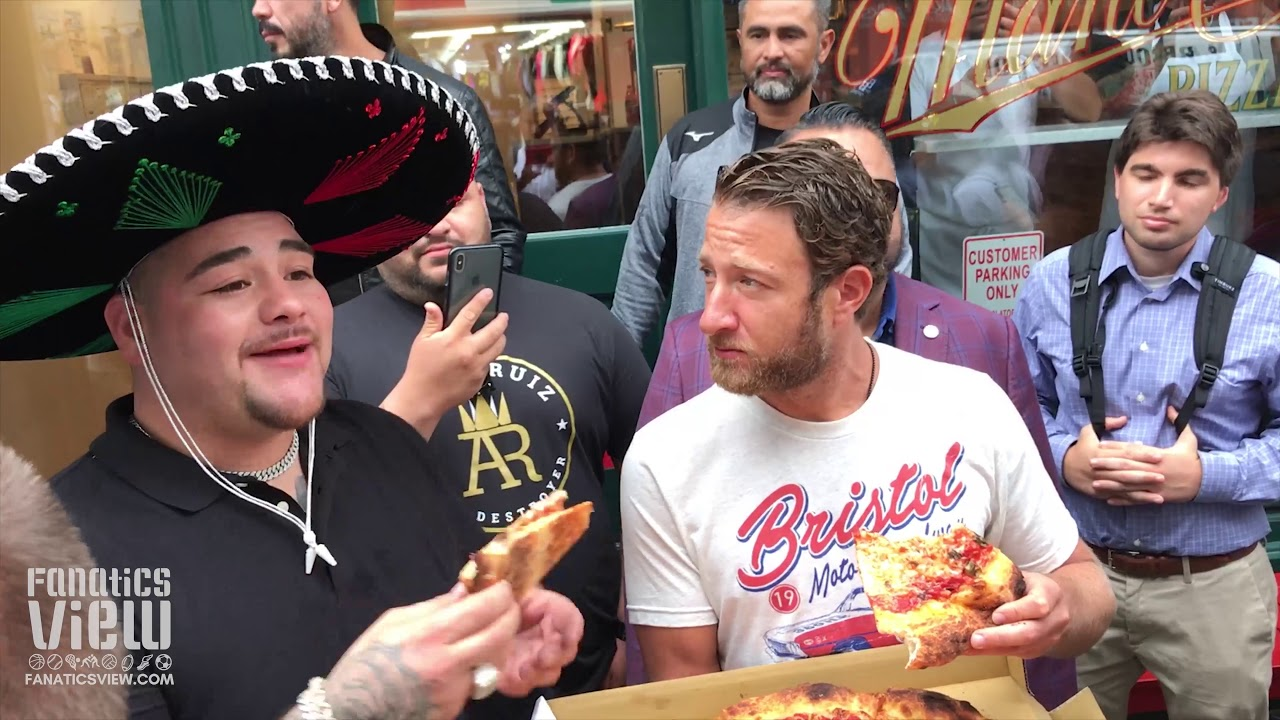 Andy Ruiz mobbed by big crowd during Barstool Sports pizza review