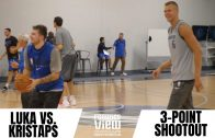 Kristaps Porzingis faces Luka Doncic in a 3-Point Shootout (MAVS TRAINING CAMP HIGHLIGHT)