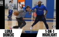 Luka Doncic & Mavs Hit Center Court For Old Fashioned Half-Court Contest