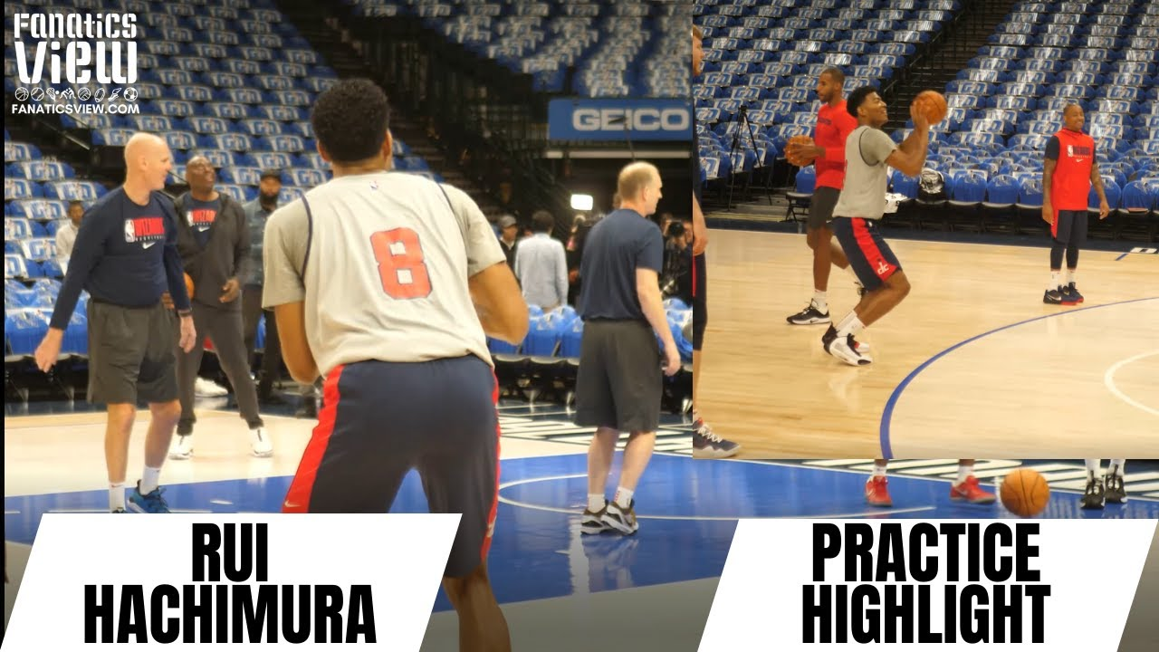 Japanese sensation Rui Hachimura works on three-pointers at Wizards practice