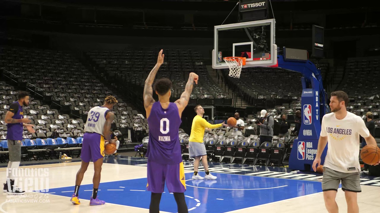 Kyle Kuzma works on his three-point shot and jumpers ahead of his 2019 debut against the Dallas Mavericks