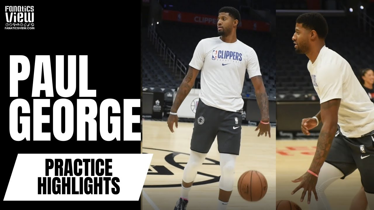 Paul George works on his jumpers and crossovers at the Clippers practice, looks closer to a return