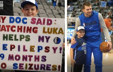 Luka Doncic Shares a Heartwarming Moment with a Young Mavs Fan
