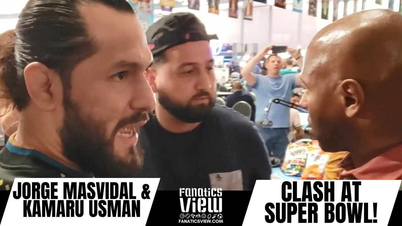Jorge Masvidal & Kamaru Usman CLASH & EXCHANGE WORDS at SUPER BOWL MEDIA ROW