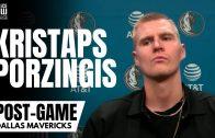 Kristaps Porzingis Reacts to Dallas Mavs Win vs. San Antonio, Health & Taking Smaller Defenders
